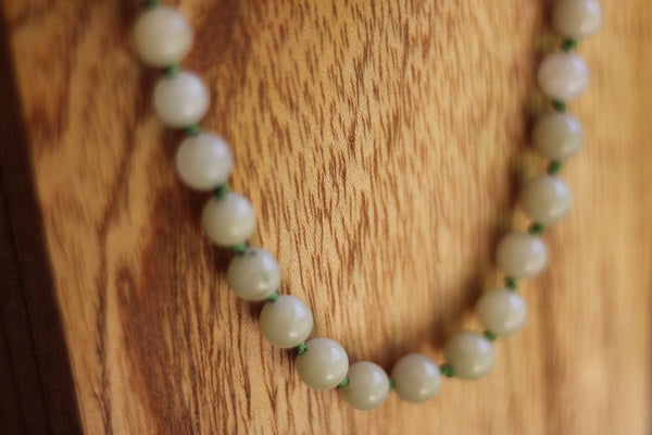 Seaglass Green Agate Stone Bead Necklace