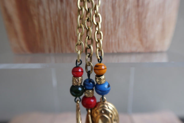 Egyptian Themed Pendants Tassel Necklace Etched Vibrant Colors Textured Beads