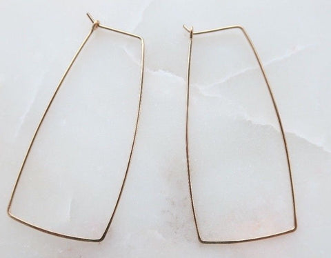 Trapezoid Gold Wire Hoop Handmade Earrings