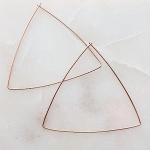Triangle Rose Gold Wire Hoop Handmade Earrings