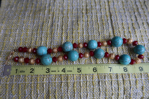 Turquoise Red and Gold Bead Necklace