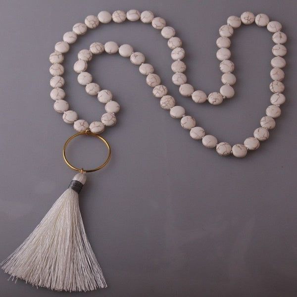 White Flat Stone Bead Tassel Necklace