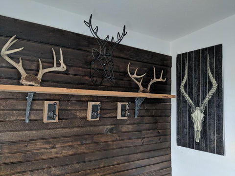 mud room with hooks and horns