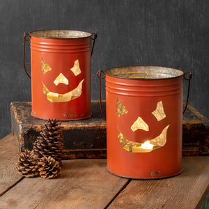 Pumpkin jack o' Lantern tin bucket candle holders