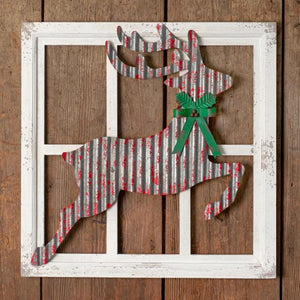 Christmas Reindeer Window Frame Wall Decor
