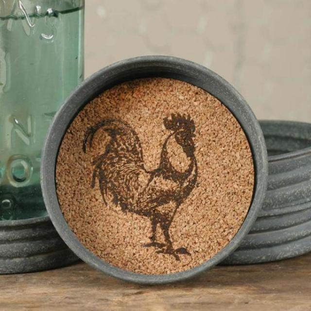 Rustic Rooster Tin Cork Coasters