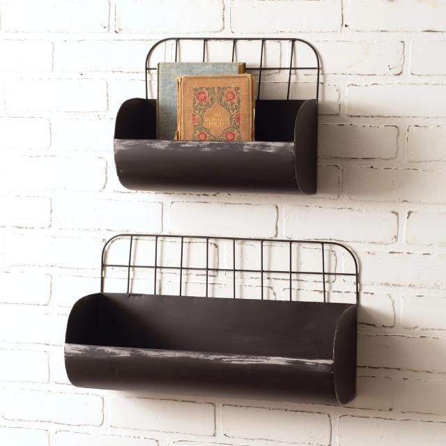 Black finish storage wall bins