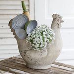 Speckled White Chicken Farmhouse Planter Pot