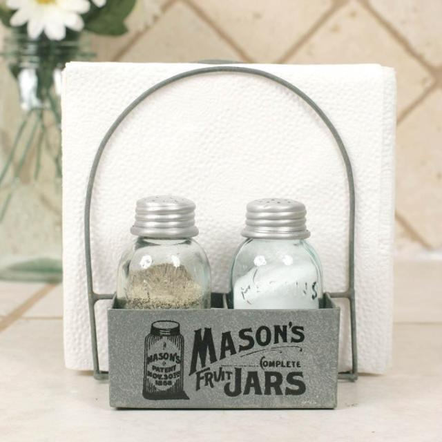 Dining Farm Kitchen Mason Jar Mini Salt & Pepper Shaker Set with Napkin Holder Caddy