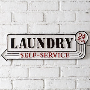 Self Service Laundry Room Metal Sign