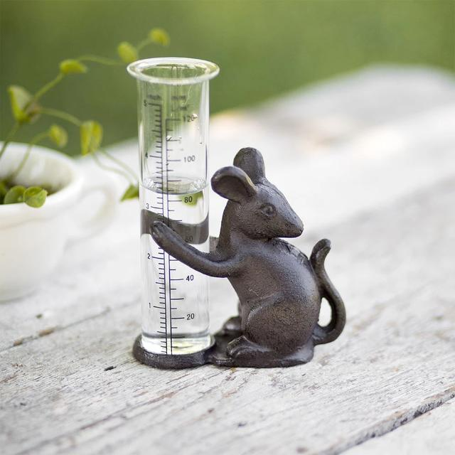 Cast Iron Mouse Rain Glass Gauge