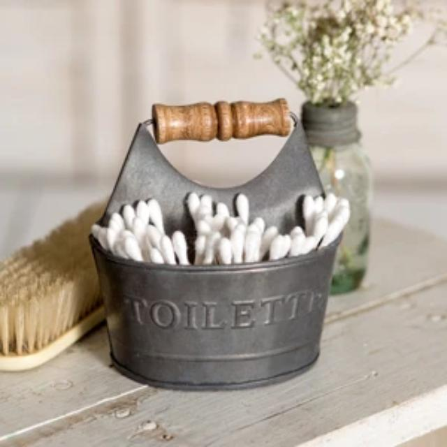 Toiletry Q-Tip & Cotton Ball Tin Caddy