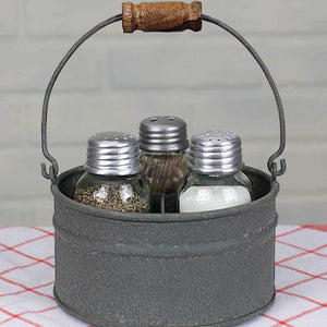 tin salt & pepper toothpick shaker mason jar caddy set