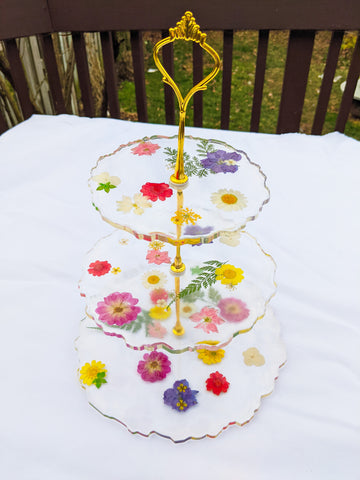 Floral 3-Tier Cake Stand