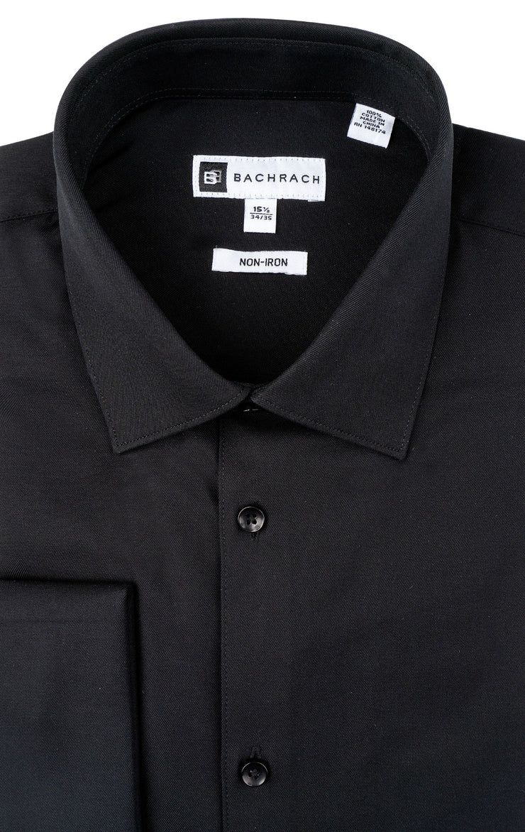 SLIM FIT NON IRON BLACK FRENCH CUFF DRESS SHIRT