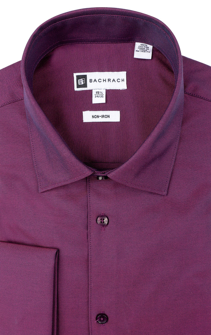 SLIM FIT NON IRON MAGENTA FRENCH CUFF DRESS SHIRT