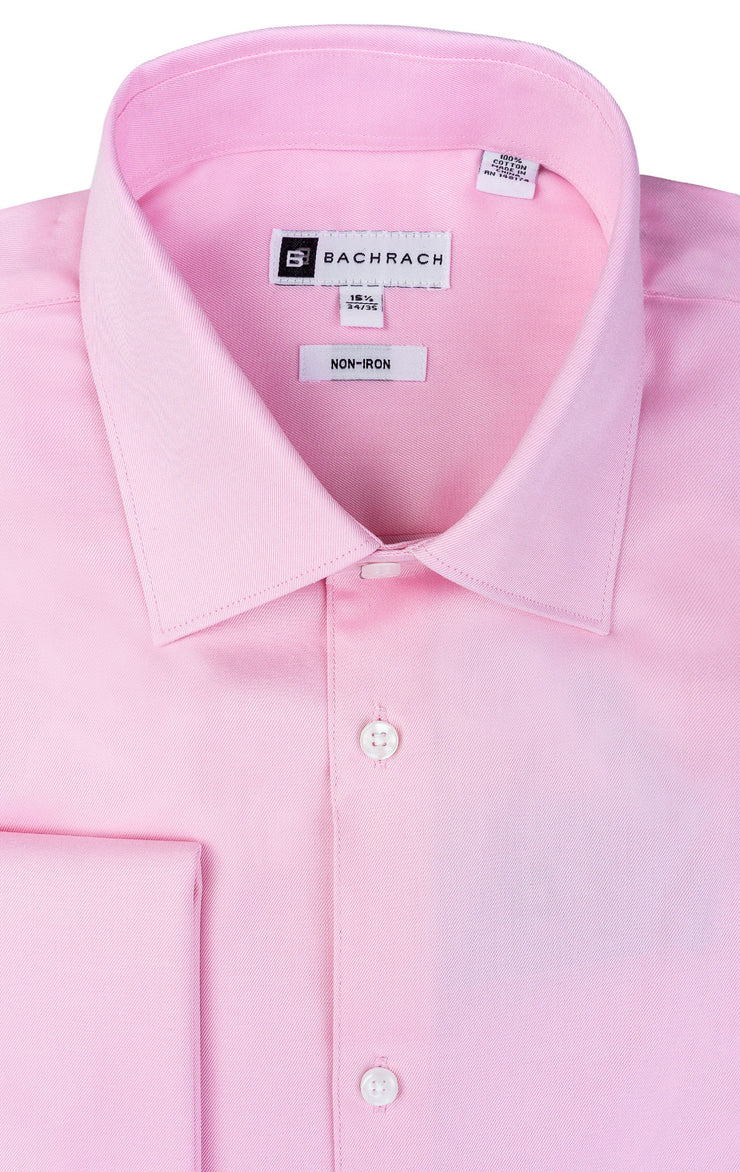 SLIM FIT NON IRON PINK FRENCH CUFF DRESS SHIRT