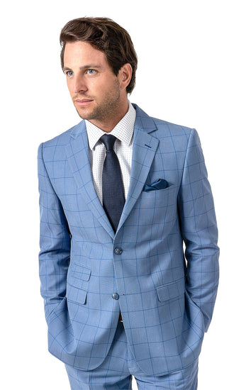WAYNE BLUE WINDOW PANE SLIM FIT SUIT JACKET