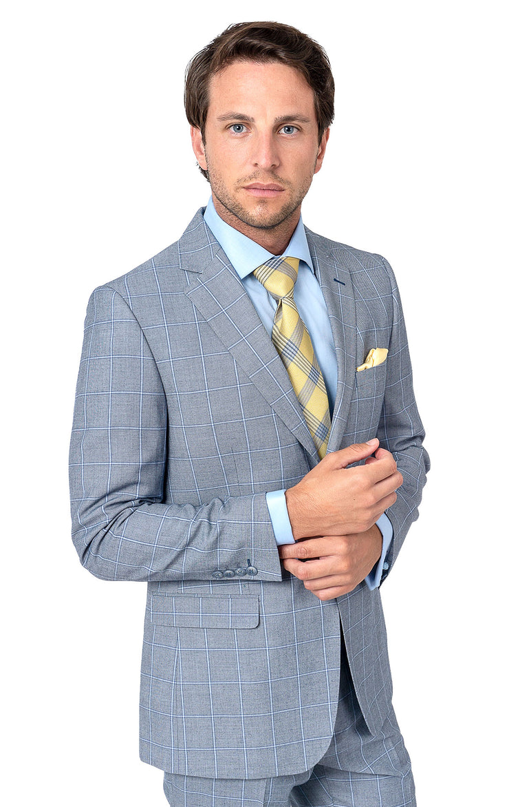 JOHN BLUE WINDOW PANE SLIM FIT SUIT JACKET