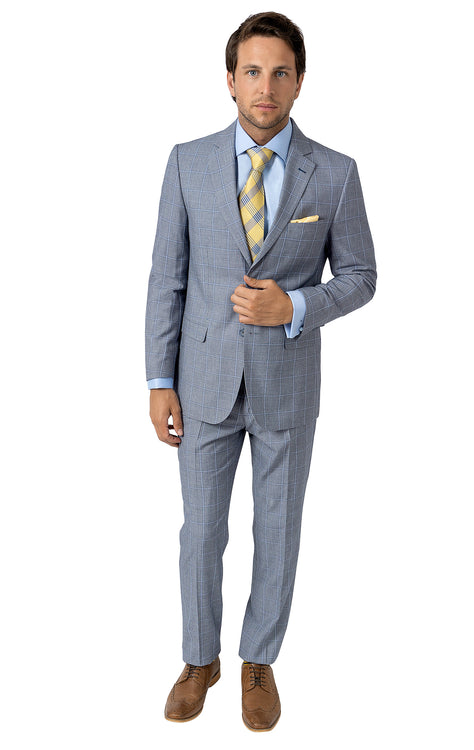 JOHN BLUE WINDOW PANE SLIM FIT SUIT