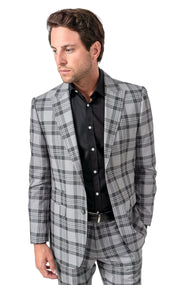 PAUL GREY PLAID SLIM FIT SUIT JACKET