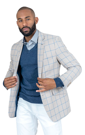 JADEN TAN WINDOW PANE SLIM FIT BLAZER