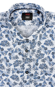 WARICK BLUE FLORAL LONG SLEEVE WOVEN