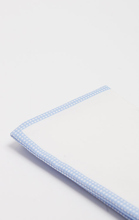 LIGHT BLUE POLKA PIPE POCKET SQUARE