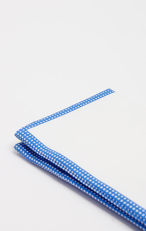BLUE POLKA PIPE POCKET SQUARE