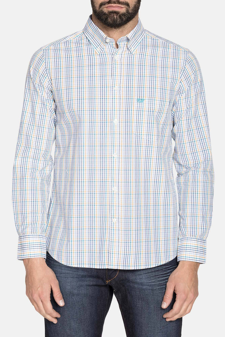BRIAN BLUE CHECK LONG SLEEVE WOVEN