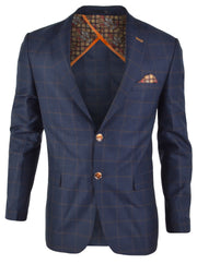 SPAZIO NAVY PLAID SPORTCOAT