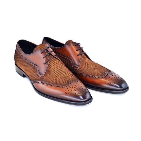 TOBACCO WING TIP W/PATTERN SHOES