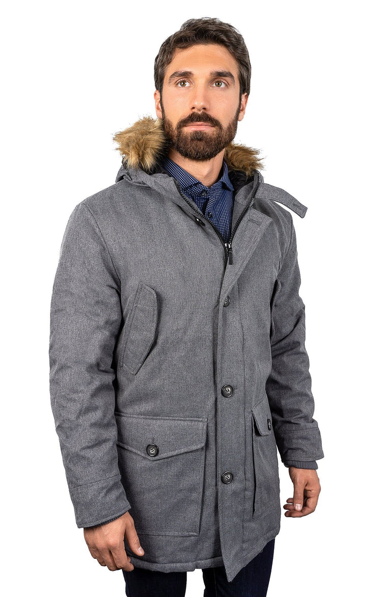 KIMBLEY GREY MELANGE PARKA