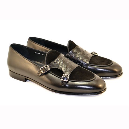 BLACK DOUBLE STRAP OSTRICH/SUEDE LOAFER