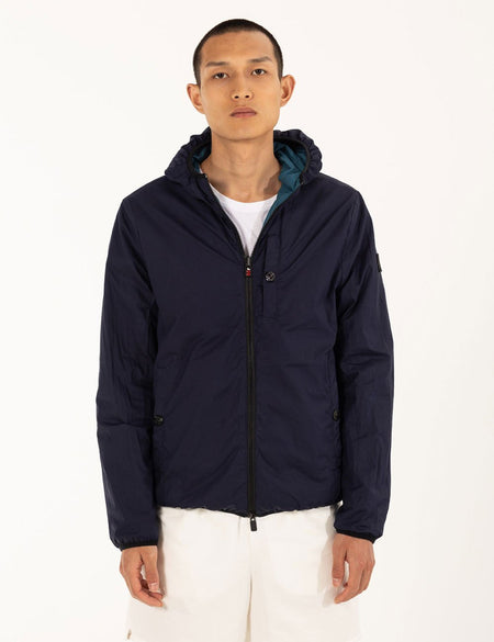 NAVY/TEAL REVERSIBLE BOMBER WITH HOOD