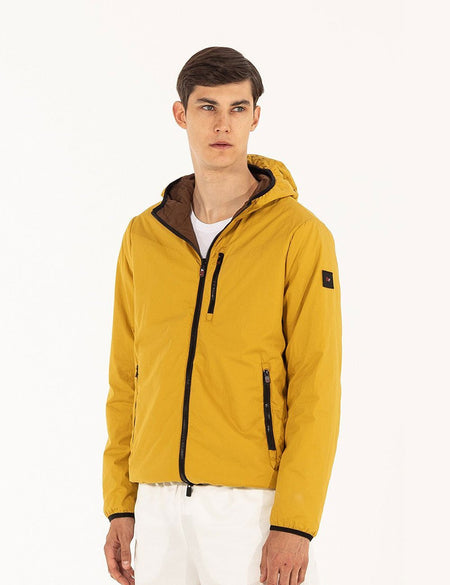 BROWN/MUSTARD REVERSIBLE BOMBER WITH HOOD