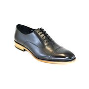 BLACK CAP TOE LACE UP SHOES
