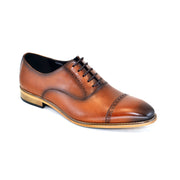 COGNAC CAP TOE LACE UP SHOES
