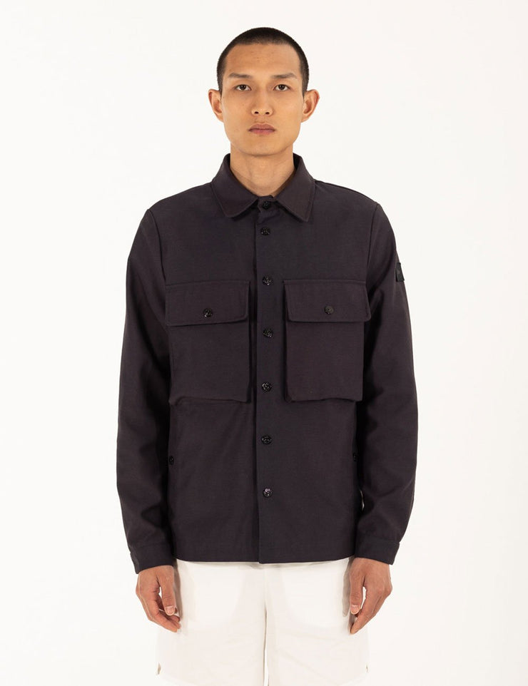 NAVY SHIRT PATTERN JACKET