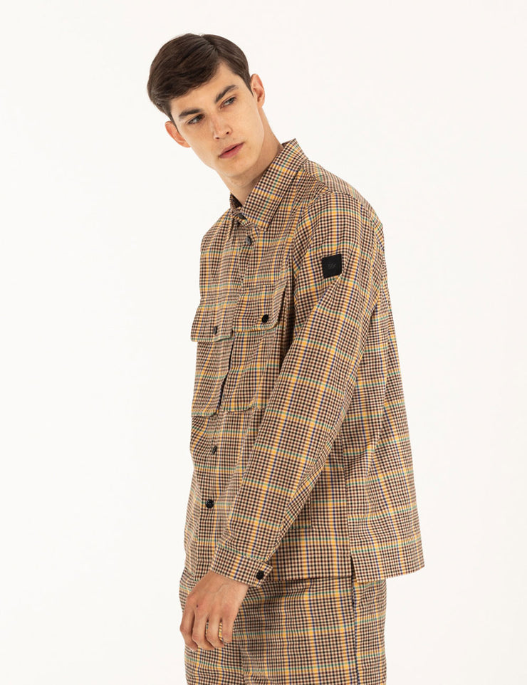 TAN PLAID SHIRT PATTERN JACKET
