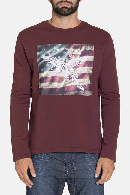 LONG SLEEVE BORDEAUX GRAPHIC CREW SHIRT