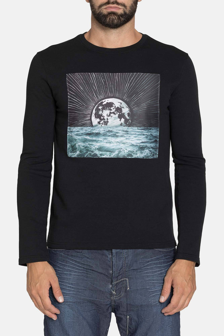 LONG SLEEVE BLACK GRAPHIC CREW SHIRT