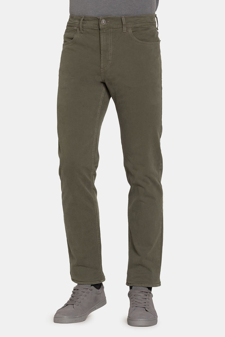 GABARDINE GREEN REGULAR FIT SPINTECH PANT - 700