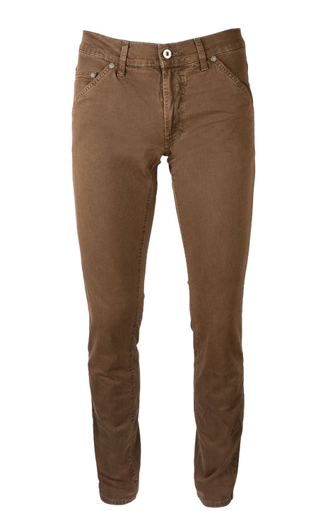 GABARDINE BROWN SLIM FIT STRETCH DENIM