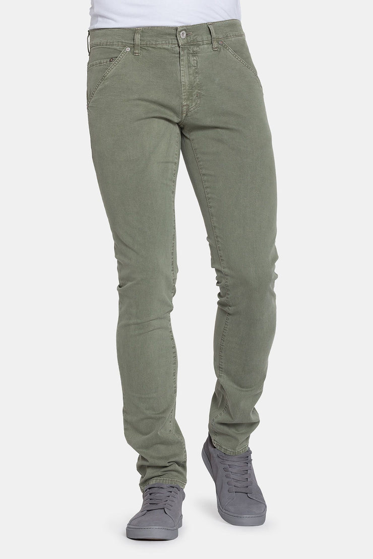 GABARDINE ARMY GREEN SLIM FIT STRETCH DENIM - 717