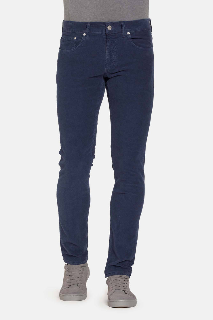 BLUE CORDUROY SLIM FIT JEANS - 717