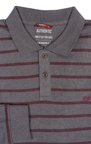 LONG SLEEVE RED & GREY POLO