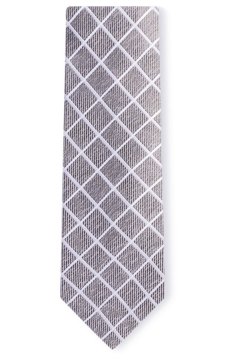 EASTON GREY PLAID TIE