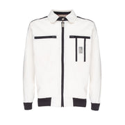 MASERATI FULL ZIP WHITE JACKET WITH POCKETS