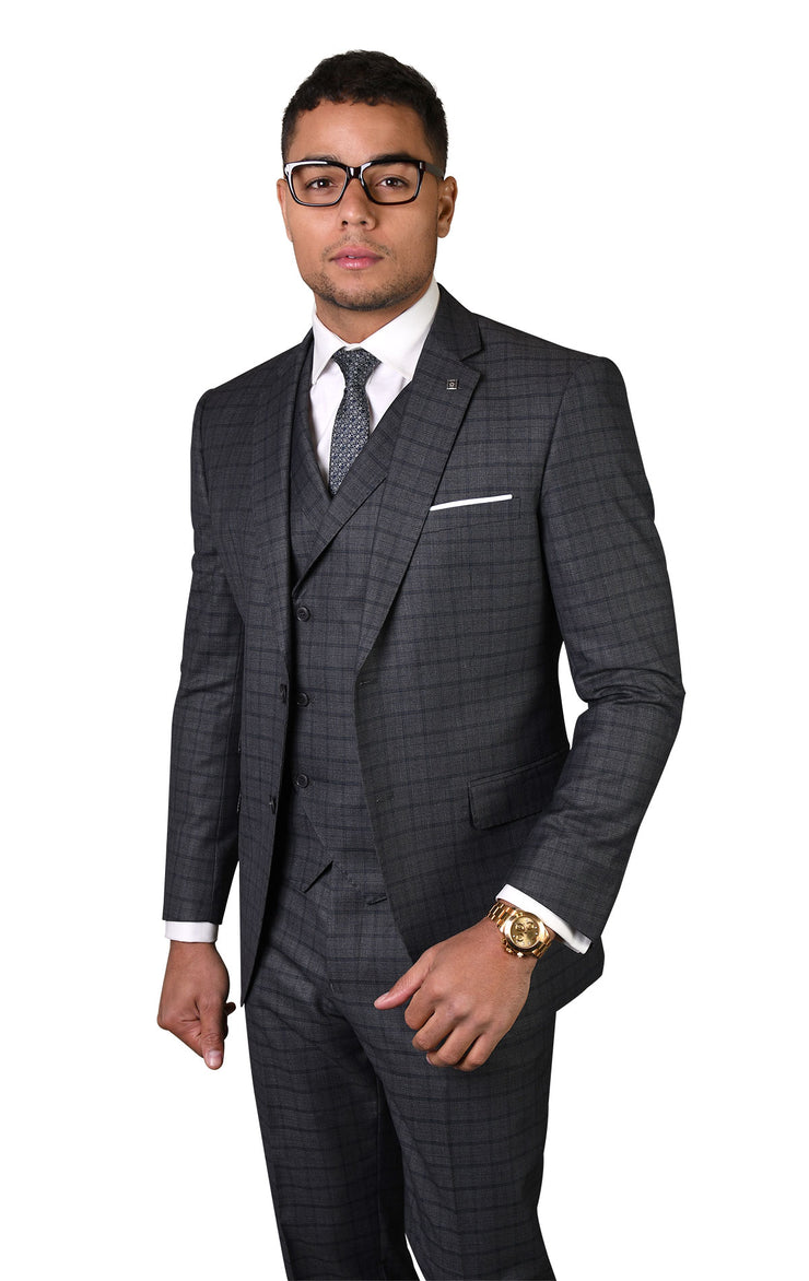 ANSELM CHARCOAL TAILORED FIT 3 PC SUIT